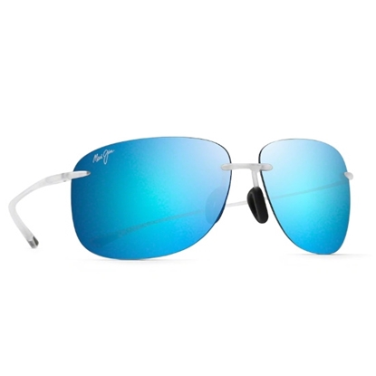 Picture of Maui Jim Hikina Sunglasses - Crystal Matte/Blue Hawaii Lens