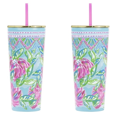 Picture of Lilly Pulitzer Tumblers with Straw - Totally Blossom