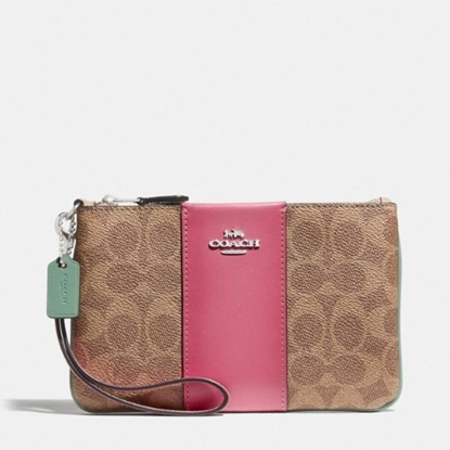 Picture of Coach Signature Blocked Small Wristlet - Tan Sand Orchid