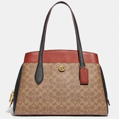 Picture of Coach Signature Colorblock Lora Carryall - Tan Rust