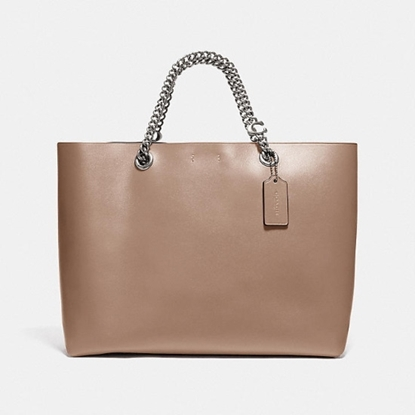 Picture of Coach Leather Signature Chain Tote - Taupe