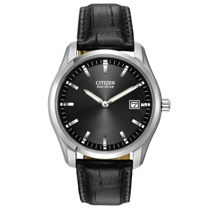 Picture of Citizen Eco-Drive Corso Watch with Black Leather & Black Dial