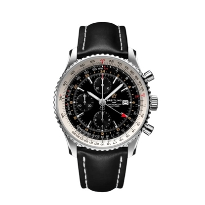 Picture of Breitling Navitimer Chrono GMT 46 w/ Black Strap & Black Dial