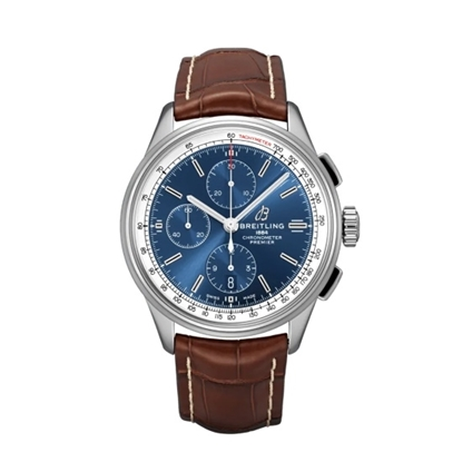 Picture of Breitling Premier Chrono 42 w/ Blue Dial & Brown Leather Strap