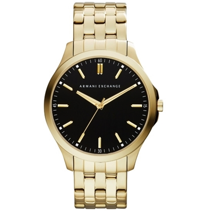 Picture of Armani Exchange Gold-Tone Steel Watch with Black Dial