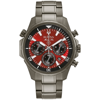 Picture of Bulova Marine Star Gray Stainless Steel Watch with Red Dial