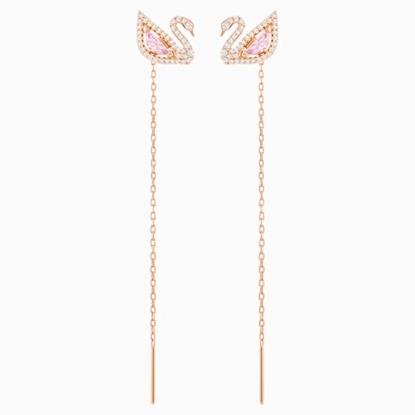 Picture of Swarovski Dazzling Swan Pierced Earrings - Rose Gold