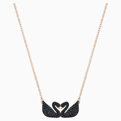 Picture of Swarovski Iconic Swan Double Necklace - Rose/Black