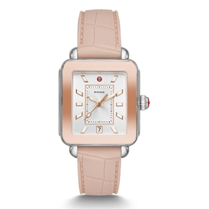 Picture of Michele Deco Sport Two-Tone Watch with Rose Silicone Strap