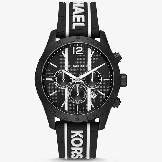 Picture of Michael Kors Layton Watch with Black/White Silicone Strap