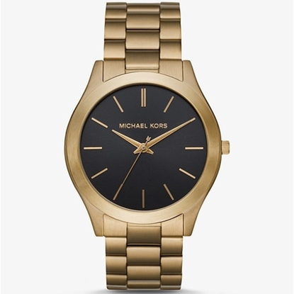 Picture of Michael Kors Slim Runway Gold-Tone Men's Watch with Black Dial