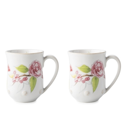 Picture of Juliska Berry & Thread Floral Sketch Camellia Mugs - Set of 4