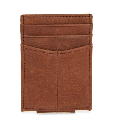 Picture of Johnston & Murphy Front Pocket Wallet - Whiskey Milled Leather