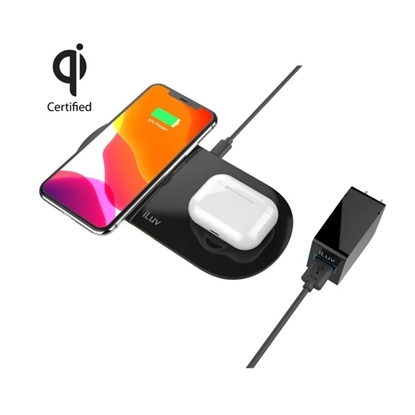 Picture of iLuv Dual Qi Wireless Charging Pad with QC3 Wall Charger