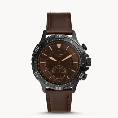 Picture of Fossil Garrett Hybrid Smartwatch with Brown Leather Strap