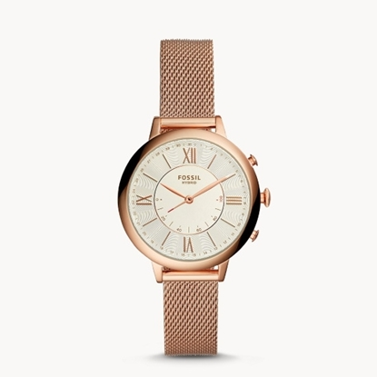 Picture of Fossil Jacqueline Rose Gold-Tone Mesh Steel Hybrid Smartwatch