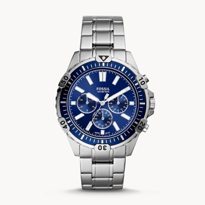 Picture of Fossil Garrett Stainless Steel Watch with Blue Dial