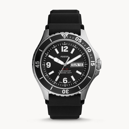 Picture of Fossil FB-02 Watch with Black Dial & Black Silicone Strap