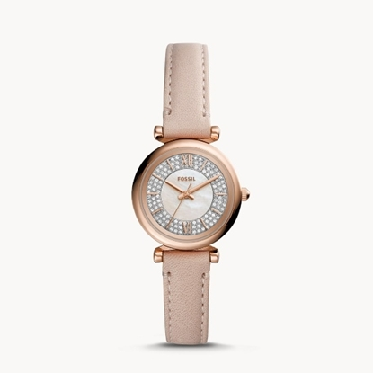 Picture of Fossil Carlie Mini Watch with Nude Leather Strap