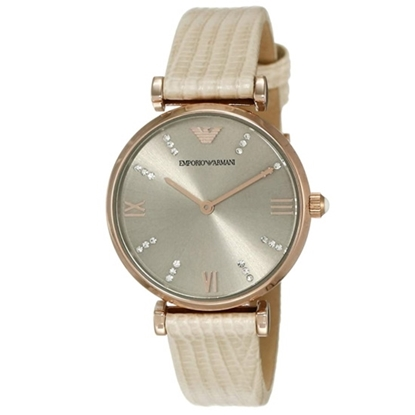 Picture of Emporio Armani Ladies Watch with Grey Dial & Nude Lizard Strap