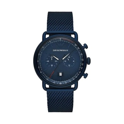 Picture of Emporio Armani Aviator Watch with Blue Mesh Strap