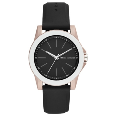 Picture of Armani Exchange Lady Banks Black Silicone Strap Watch