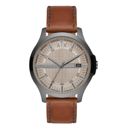 Picture of Armani Exchange Hampton Gunmetal Watch w/ Brown Leather Strap