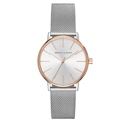 Picture of Armani Exchange Lola Silver-Tone Stainless Steel Mesh Watch
