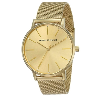 Picture of Armani Exchange Lola Gold-Tone Stainless Steel Mesh Watch