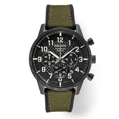 Picture of Seiko Men's Essential Chrono Watch w/ Black Dial & Green Strap