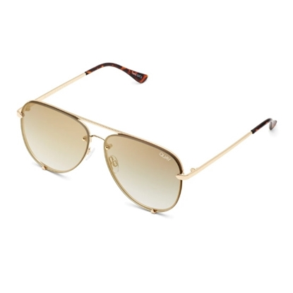Picture of QUAY High Key Mini Rimless Sunglasses - Gold/Brown Flash Lens