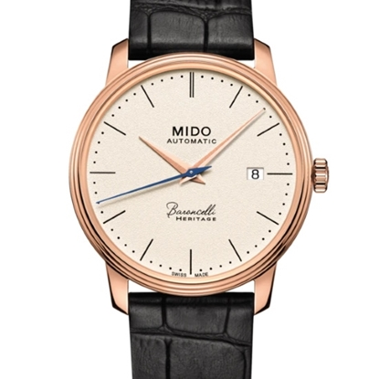 Picture of Mido Baroncelli Heritage III Black Leather Watch w/ Beige Dial