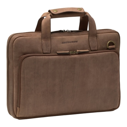 Picture of Johnston & Murphy Laptop Briefcase - Whiskey Milled Leather