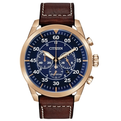 Picture of Citizen Eco-Drive Avion Watch with Brown Strap & Blue Dial