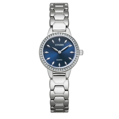 Picture of Citizen Ladies' Quartz Steel Watch with Blue Dial & Crystals