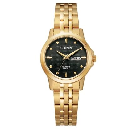 Picture of Citizen Ladies' Quartz Gold-Tone Steel Watch with Black Dial
