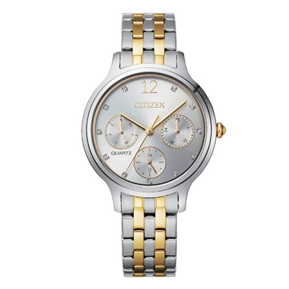 Picture of Citizen Ladies' Quartz Two-Tone Chrono Watch with Silver Dial
