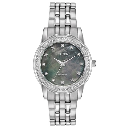 Picture of Citizen Eco-Drive Silhouette Crystal Watch w/ Black MOP Dial