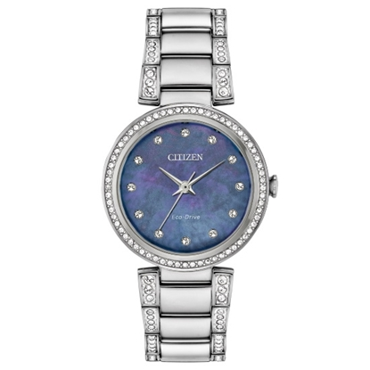 Picture of Citizen Eco-Drive Silhouette Steel Watch with Blue MOP Dial