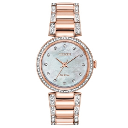 Picture of Citizen Eco-Drive Silhouette Rose Gold-Tone Watch w/ MOP Dial