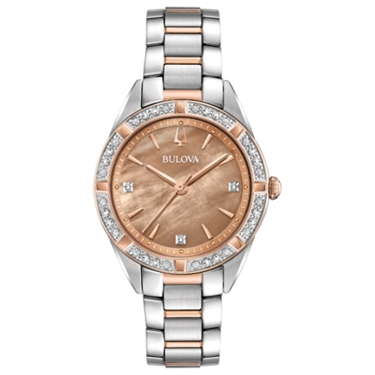 Picture of Bulova Ladies' Sutton Two-Tone Watch with Bronze MOP Dial