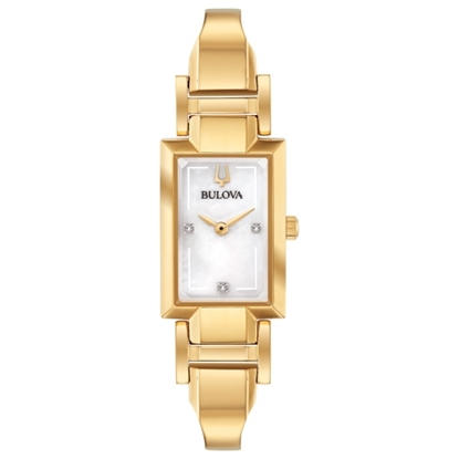 Picture of Bulova Ladies' Classic Gold-Tone Bangle Watch with White Dial