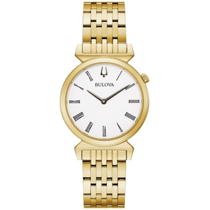 Picture of Bulova Ladies' Regatta Gold-Tone Watch with White Dial