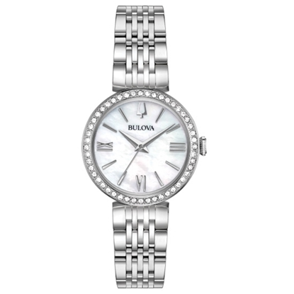 Picture of Bulova Ladies' Crystal Stainless Steel Watch with MOP Dial