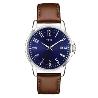Picture of Bulova TFX Men's Watch with Blue Dial & Brown Strap