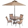 Picture of Hanover Fontana 5-Piece Dining Set with Four Stationary Dining Chairs, a 48 In. Glass-Top Dining Table, a 9 Ft. Umbrella and Stand