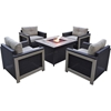 Picture of Hanover Montana 5-Piece Chat Set in Tan with 40,000 BTU Fire Pit Table
