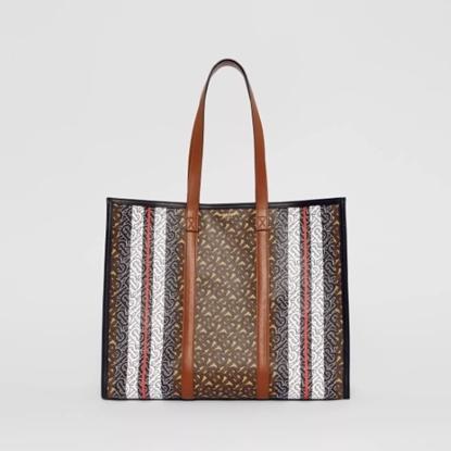 Picture of Burberry Small Monogram Stripe E-Canvas Tote Bag