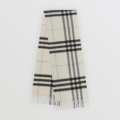 Picture of Burberry Giant Check Cashmere Scarf - Natural White