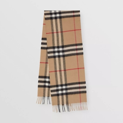 Picture of Burberry Cashmere Classic Check Scarf - Camel